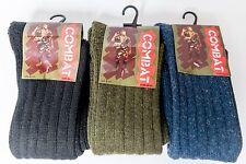 3 Pair PacK Wool Mix Mens Khaki Black or Blue Combat Socks Cushion Sole 6-11