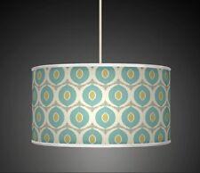 Ovels Blue Green  Handmade Printed Fabric Lamp Shade Drum Pendant Light 348