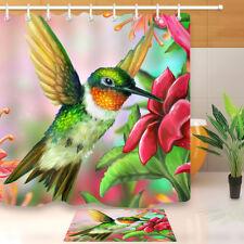 """60/72"""" Hummer Bird Flower Waterproof Fabric Shower Curtain Bath Accessory Hooks"""