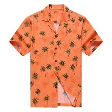 Made in Hawaii Men Hawaiian Aloha Shirt Luau Cruise Party Palm Tree Orange Brigh