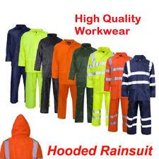 New Hi Vis Visibility / Plain Waterproof RainSuits Coat Jacket Reflective Hooded