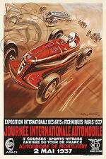 REPRO DECO AFFICHE MONTLHERY JOURNEE INTERNATIONALE 1937 SUR PAPIER 190 OU 310 G