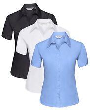 Damen Blau Schwarz Weiß Kurze Ärmel Knopfkragen Bügelfrei Hemd BLUSE