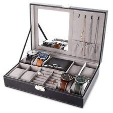 Jewelry Box 6/8 Slot Watch Organizer Storage Case Lock and Mirror for Men Women