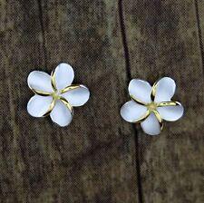 Hawaiian 925 Sterling Silver Gold Plumeria Flowers Post Stud C Zirconia Earrings
