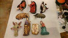 Scena artigianale in terracotta 3 cm tombola 4 persone gruppo pastori shepherd