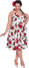 Hell Bunny CANNES Roses Vintage Retro Weiß Neckholder KLEID Plus Size Rockabilly