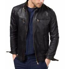 Men Genuine Lambskin Quilted Real Leather Motorcycle Slim fit Biker Jacket Mens