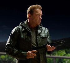 Terminator Genisys Arnold Schwarzenegger Real Cowhide Black Leather Jacket