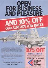 British Car Rental Austin Rover 1987 UK Market Leaflet Brochure Metro Montego