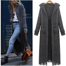 Women Long Sweater Cardigan Loose Hooded Casual Knitwear Coat Tassel Jacket F420