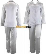 White Pinstripe Ladies Satin Pyjamas Silk Pjs Winter Pajamas Sleepwear