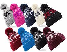 adultes chaude Snowstar Flocon de neige Toucher doux acrylique pompom Bonnet ski