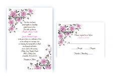 100 Personalized Custom Pink Flower Scroll Bridal Wedding Invitations Set