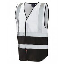 Leo Workwear Pilton White/Black Hi Vis Reflective Waistcoat