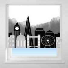 Universal London Skyline Patterned Thermal Blackout Roller Blind, Black