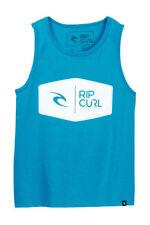NWT Rip Curl Boy's Turquoise Blue Primaries Logo Sleeveless Tank Top T-Shirt