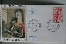 ENVELOPPE PREMIER JOUR SOIE 1971 HOMMAGE A DE GAULLE