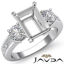 Three 3 Stone Diamond Wedding Unique Ring Round Emerald Semi Mount Platinum 1Ct