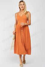 New Look Womens Button Through Mix Linen Midi Dress in Rust