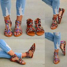 Summer Womens Open Toe Casual Boho Flat Sandals Zipper Flat Shoes Beach Slippers