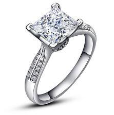 Silver 2 Carats Princess Cut Womens Crown Wedding Bridal Engagement Ring R31