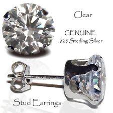 Men's or Lady's Clear Stud Earrings, Genuine Sterling Silver - APRIL Birthstone