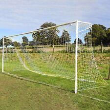 Yellow & White Striped Full Size Football Goal Nets - [Net World Sports]