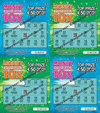 4 EURO Fake Joke Winning Lottery Scratch Cards Scratchcards Tickets EU -