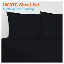 1000TC Egyptian Cotton 4 Piece Flat,Fitted Sheet+Pillowcase Set ALL SIZE