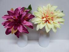 Artificial Large Dahlia Plant in a White Ceramic Pot Vase Silk Flowers 23cm
