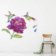 Tropische Vogels Paarse Bloemen Muursticker WS-47623