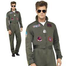 Top Gun Deluxe Pilot Costume Mens Aviator Jumpsuit Fancy Dress Outfit + Aviators