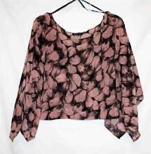 MILEAGE Black Pink Floral Design Poncho Sheer Top Pullover SM MED LG XL NEW