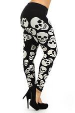 HALLOWEEN BIG smiling SCULL leggings Skeleton pants Cotton L 1X 2X 3X