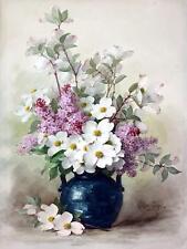 Flowers Bouquet Jasmine Lilac P. Longpre Tile Mural Kitchen Backsplash Ceramic
