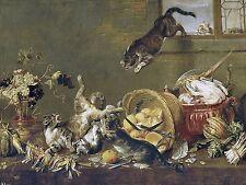 Cats Fighting in a Larder P. de Vos Tile Mural Kitchen Backsplash Marble Ceramic