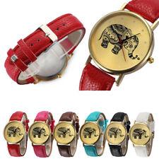 UNISEX Elephant Watch Patterns Leather Band Analog Quartz Vogue Wrist Watches