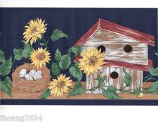 Vintage Country Birdhouse Sunflower Vine Bird Nest Dark Blue Wall paper Border