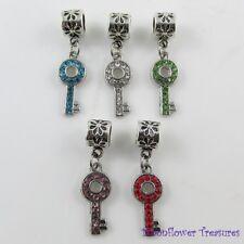 Rhinestone Key Charm fit European Charm Bracelet Select Colour