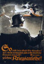 WA87 Vintage WWI German U-Boat Submarine War Loan Poster WW1 A1 A2 A3