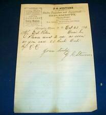 Antique 1890 Letterhead Signed JG Stevens Agricultural