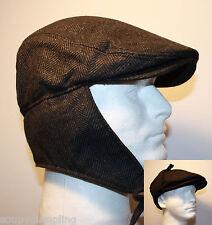BLACK HERRINGBONE FLAT IVY WOOL GATSBY WINTER HAT EAR FLAP TIES URBAN  CASUAL G61 6a7c78f0ca5c