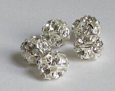 10 - 200 Crystal Rhinestone Silver Plated Rhinestone Beads 6mm 8mm 10mm