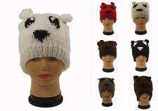 Ausverkauf 1 x Tier Panda Teddybär Hut handgestrickt, One größe. Winter Ski