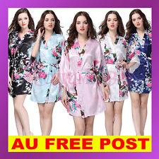 Women Gown Vintage Sleepwear Bridal Wedding Bridesmaid Robes Kimono FLORAL  SATIN b3899e229