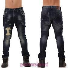 Jeans UOMO pantaloni denim strappi casual cotone cavallo basso slim nuovi WJ-926
