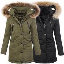Warme damen winter jacke parka lang mantel winterjacke fell kragen kapuze D-213