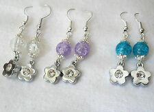 Earrings - Silver flower + glass bead - choice 3 colours