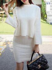 Élégant vestido traje beige suave cómodo suéter manga larga 3939
